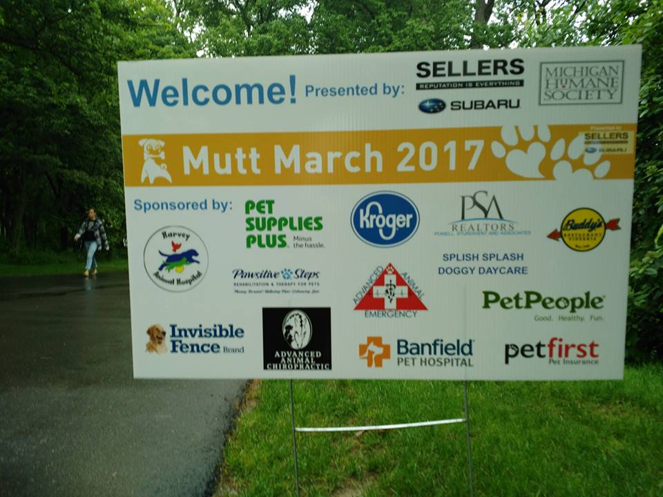 Michigan Humane Society Mutt March Grosse Pointe Shores mi, Harvey Animal Hospital Sponsor, sponsorship board